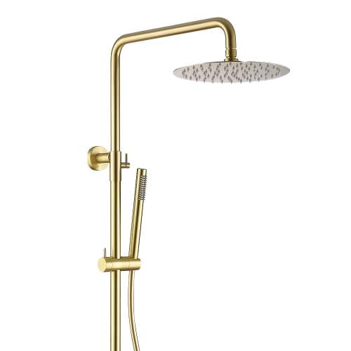 Bluci Brushed Brass Cool Touch Thermostatic Bar Mixer with Riser & Overhead
