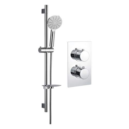 Bluci Round Shower Pack 1 - Chrome Twin Single Outlet & Riser Kit