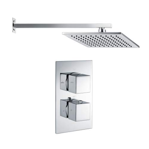 Bluci Square Shower Pack 3 - Chrome Twin Single Outlet & Overhead Shower