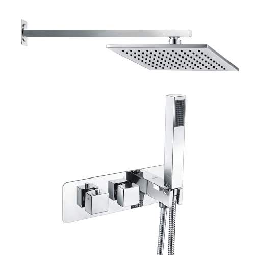 Bluci Square Shower Pack 4 - Chrome Twin Two Outlet with Handset & ABS Overhead