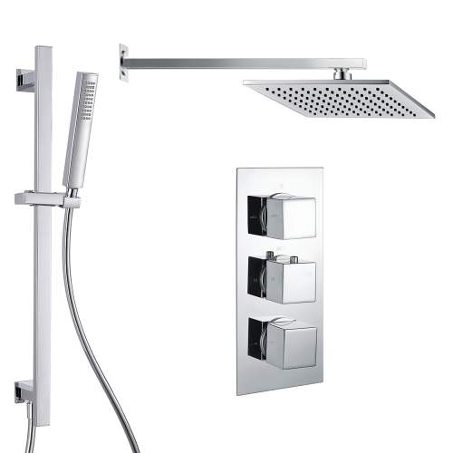Bluci Square Shower Pack 7 - Chrome Triple Two Outlet & Riser/Overhead Kit