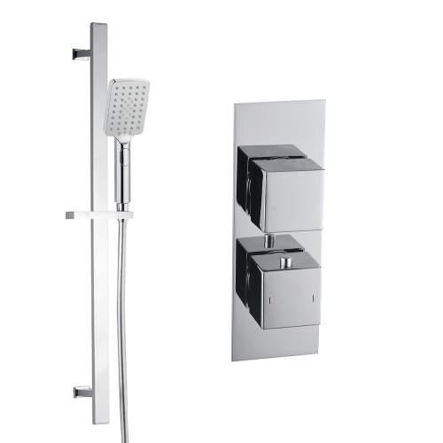 Bluci Square Shower Pack 8 - Chrome Slim Plate Single Outlet & Riser Kit