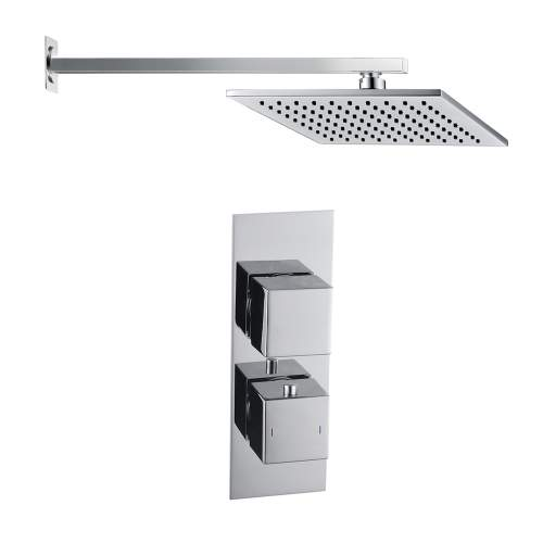 Bluci Square Shower Pack 9 - Slim Plate Single Outlet & Overhead Shower