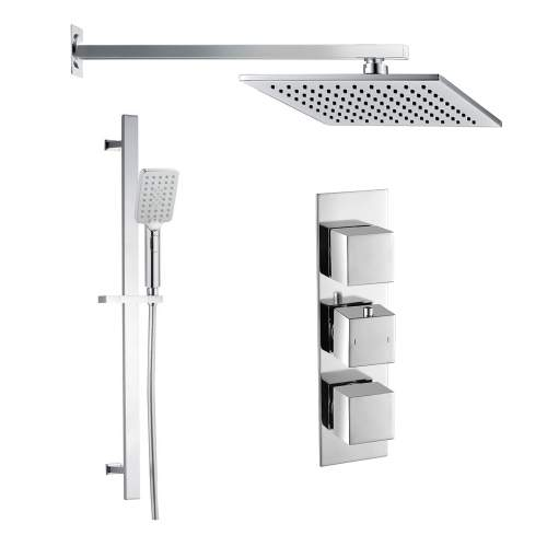 Bluci Square Shower Pack 10 - Chrome Slim Plate Two Outler & Riser/ Overhead Kit