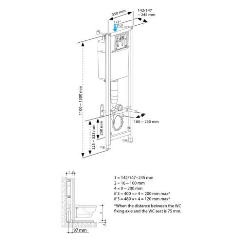 Bluci Wall Hung WC Frame including Cistern