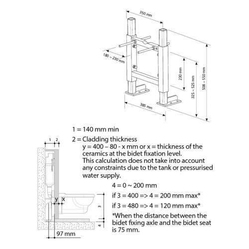 Bluci Wall Hung WC Frame excluding Cistern