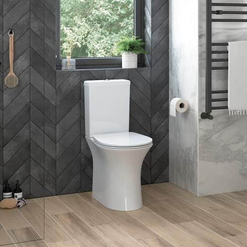 Bluci Sandro Open Back Rimless Close Coupled WC with Soft Close Seat