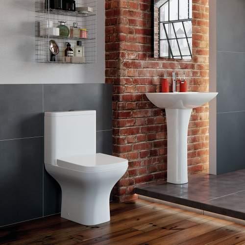 Bluci Cedarwood Open Back Close Coupled WC with Soft Close Seat