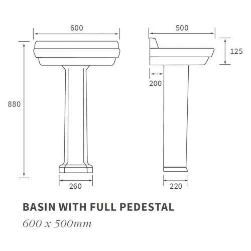 Bluci Sherbourne Basin with Full Pedestal
