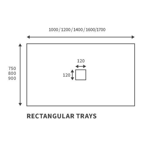 Bluci Slate Effect Ultra-Slim 1000mm Wide Rectangular Shower Tray