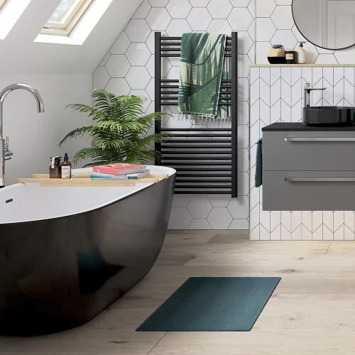 Bluci Harlesden Freestanding Double Ended Black and White Bath