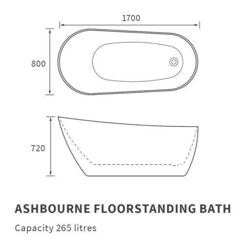 Bluci Ashbourne Freestanding Single Ended Slipper Bath