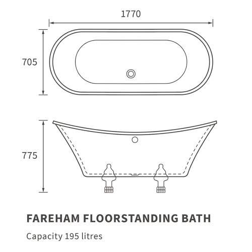 Bluci Fareham Freestanding Double Ended Bath