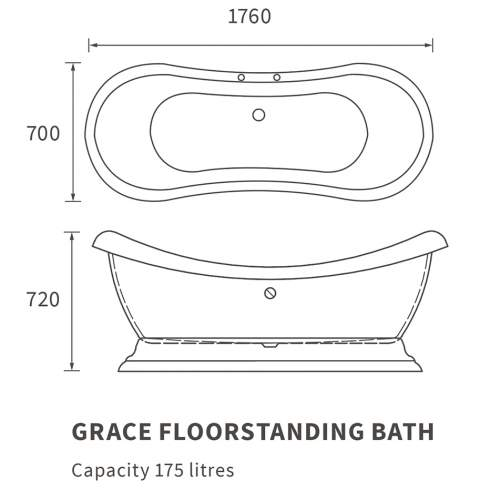 Bluci Grace Freestanding Double Ended Bath with Base