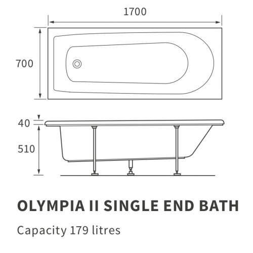 Bluci Olympia II Single End Bath