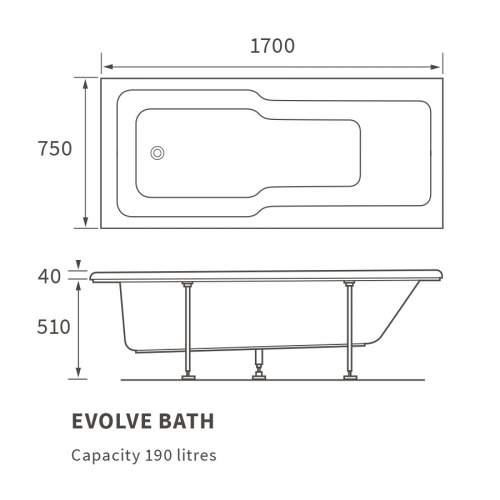 Bluci Evolve Single End Bath