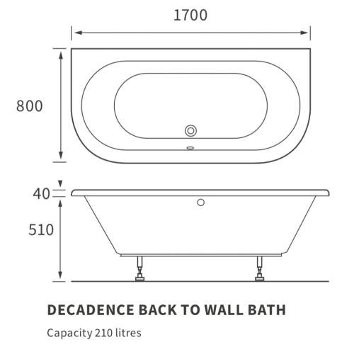 Bluci Decadence Double End Back To Wall Bath