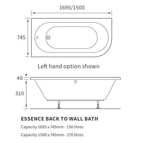 Bluci Essence Back to Wall Corner Bath