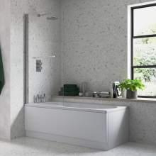 Bluci Single Straight Edge Bath Screen with Rail