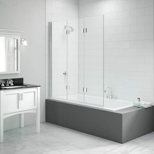 Bluci Three Panel Folding Hinged Bath Screen