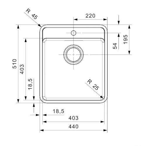 Reginox OHIO 40x40 Jet Black Single Bowl Kitchen Sink With Tap Ledge