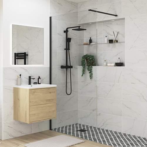 Bluci Black Profile Wetroom Panel