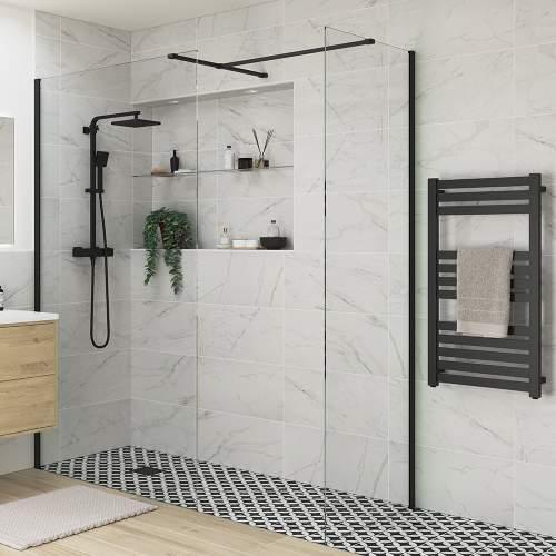 Bluci Black Profile Wetroom Side Panel