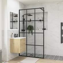 Bluci Black Framed Wetroom Panel