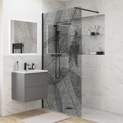 Bluci Black Leaf Design Wetroom Panel