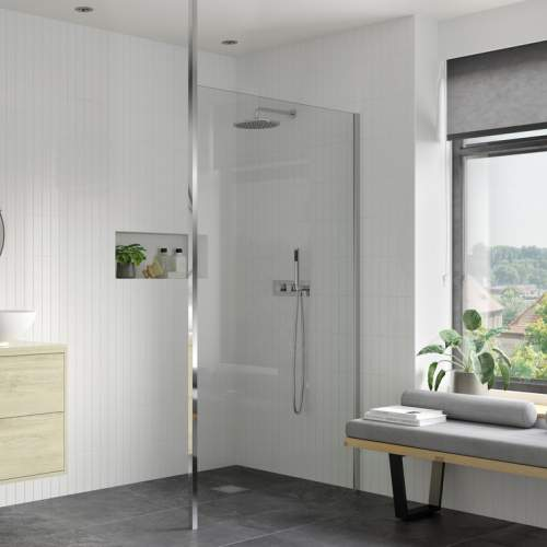 Bluci Wetroom Panel and Floor to Ceiling Pole