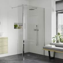 Bluci 8mm Wetroom Panel plus Support Bar and 300mm Rotatable Panel