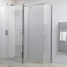 Bluci 6mm Wetroom Side Panel plus Support Bar and T Connector