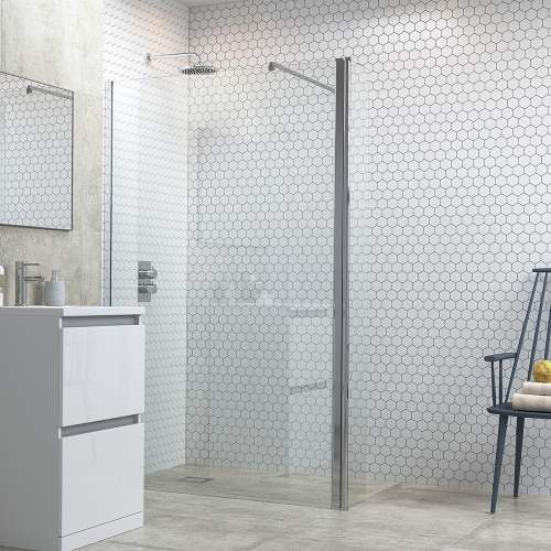 Bluci 6mm Wetroom Panel plus Support Bar and 300mm Rotatable Panel