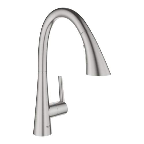 Grohe Zedra Single Lever Stainless Steel Tap w Pull Out Spray