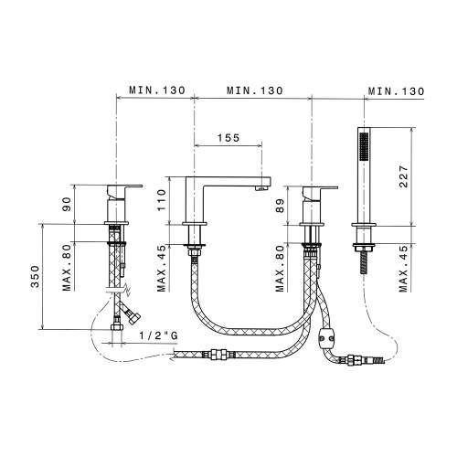 Bluci Tamesis 4 Hole Deck Mounted Bath/Shower Mixer