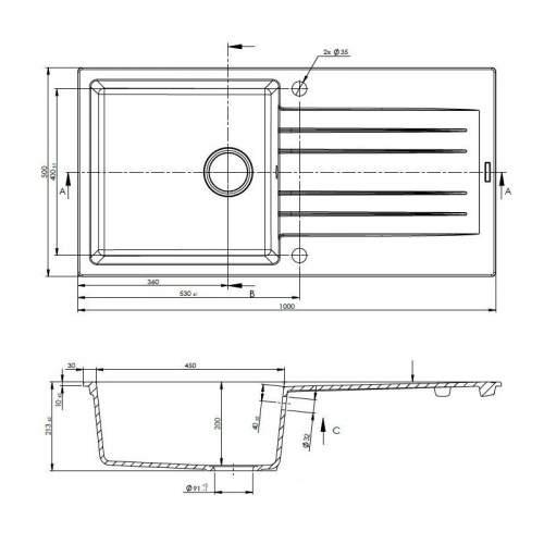 Reginox Hampton 10+ Single Bowl Granite Sink