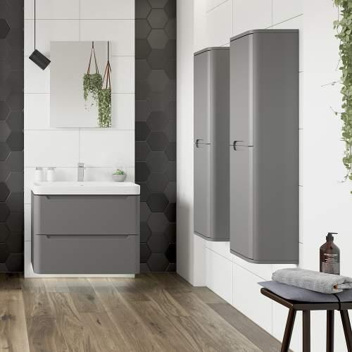 Bluci Lambra 2 Door Wall Hung Tall Bathroom Unit