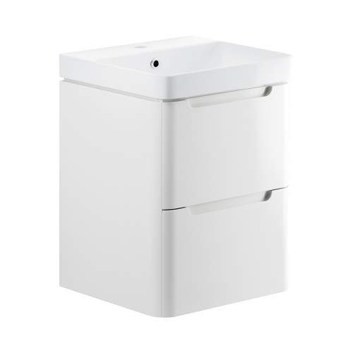 Bluci Lambra 500mm 2 Drawer Wall Hung Cloakroom Basin Unit