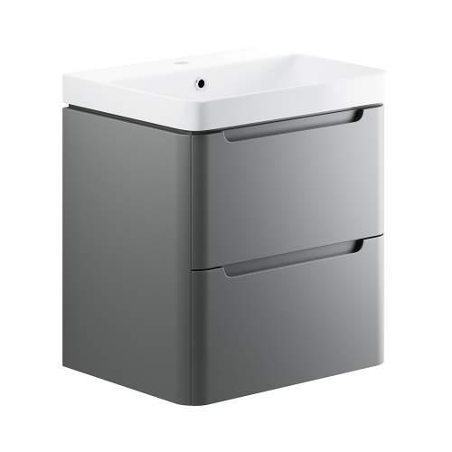 Bluci Lambra 600mm 2 Drawer Wall Hung Bathroom Basin Unit