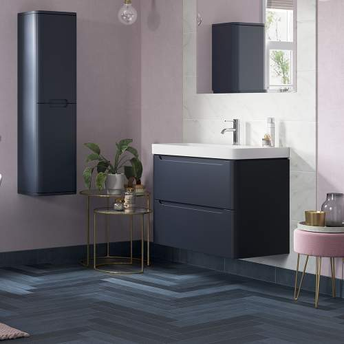 Bluci Lambra 800mm 2 Drawer Wall Hung Bathroom Basin Unit