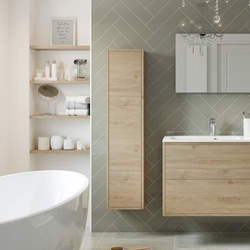 Bluci Perla Single Door Wall Hung Tall Bathroom Unit