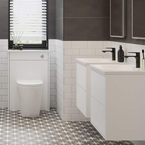 Bluci Perla Two Drawer 600mm Wall Hung Bathroom Basin Unit