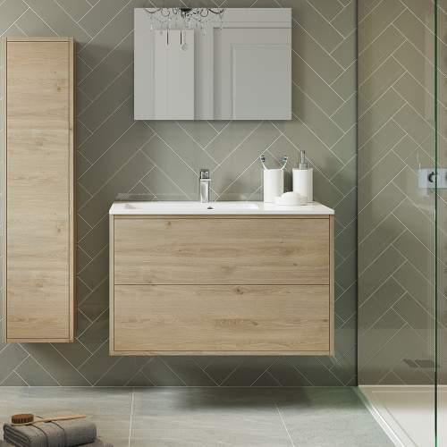 Bluci Perla Two Drawer 900mm Wall Hung Bathroom Basin Unit