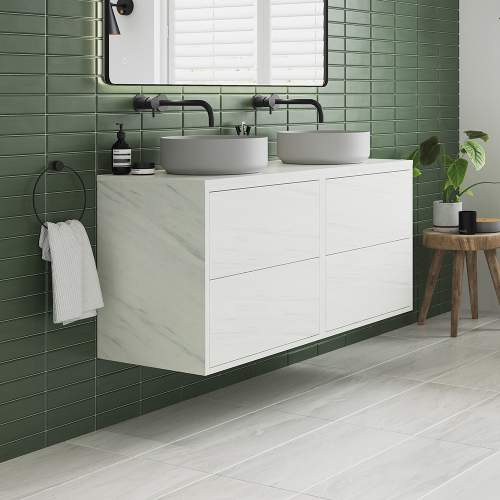 Bluci Perla Two Drawer 1200mm Wall Hung Bathroom Basin Unit with No Top