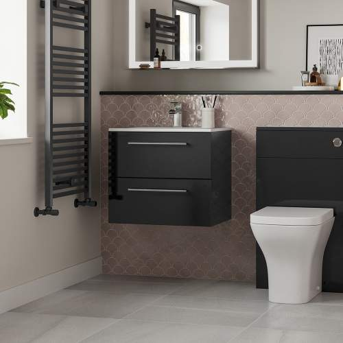 Bluci Volta 510mm Wall Hung 2 Drawer Bathroom Basin Unit