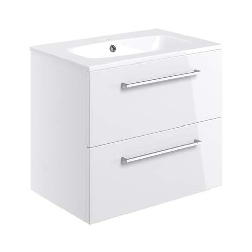 Bluci Volta 610mm Wall Hung 2 Drawer Bathroom Basin Unit