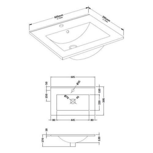 Bluci Lucia 610mm 2 Door Bathroom Basin Unit
