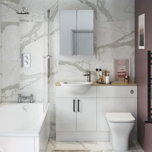 Bluci Alba 500mm Slim 2 Door Mirrored Bathroom Unit