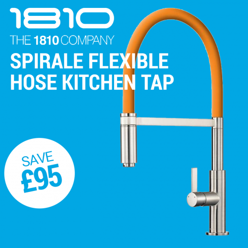The 1810 Company  Spirale Coloured Flexible Hose Kitchen Tap in Brushed Steel