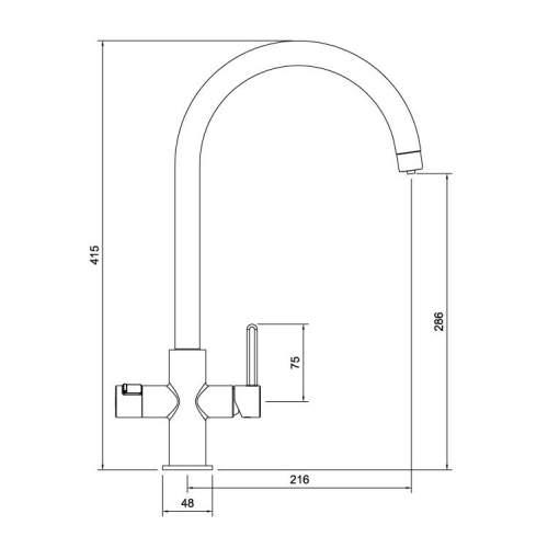 Abode Pronteau Prothia Swan 3 in 1 Kitchen Tap